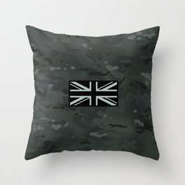 British Flag: Black Camouflage Throw Pillow