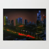 cityscape Canvas Prints featuring Cityscape by Jonas Ericson