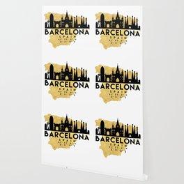 BARCELONA SPAIN SILHOUETTE SKYLINE MAP ART Wallpaper