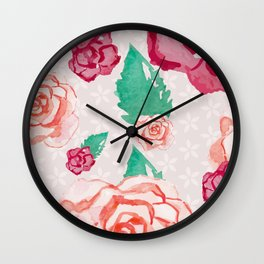 Pink and Peach Flowers in Watercolor Wall Clock