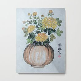 Chrysanthemum Flowers In The Vase Metal Print