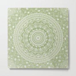 Secret garden mandala in pale green Metal Print