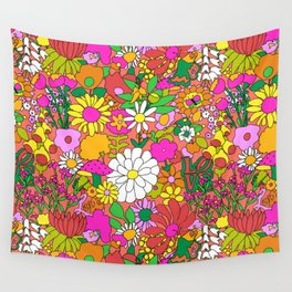 60's Groovy Garden in Neon Peach Coral Wall Tapestry