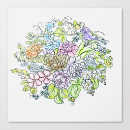 arrangement of flowers in pastel shades on a white background . illustration Canvas Print