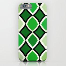 Midcentury Warped Diamonds Green iPhone Case