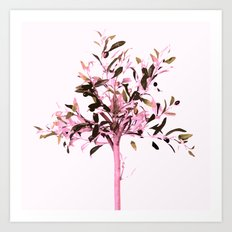 Little olive tree with pink tones on a white background Art Print