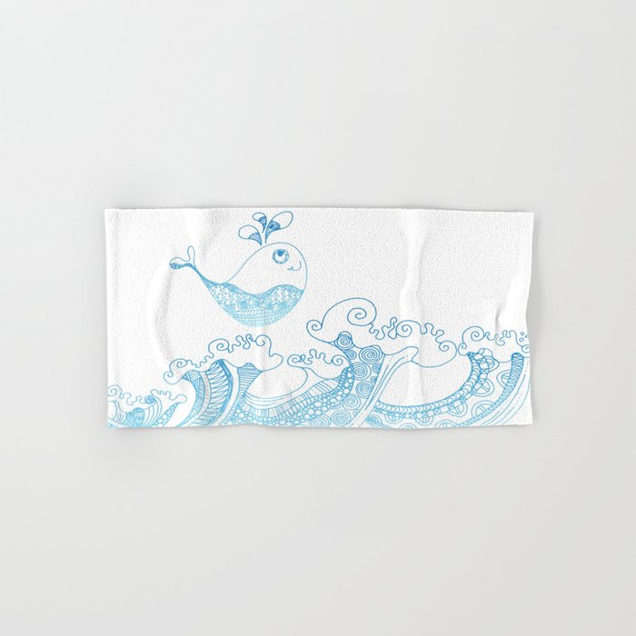 Doodle fish jumping out of the water- Maritime Sea Animal Hand & Bath Towel