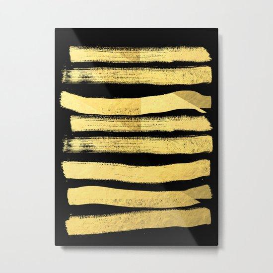 Sochie - black gold minimal black and white modern retro bold dramatic cell phone iphone case trendy Metal Print