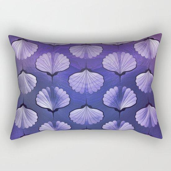 Blue sea geometric pattern texture on blurred background. Graphic illustration of seashells template Rectangular Pillow