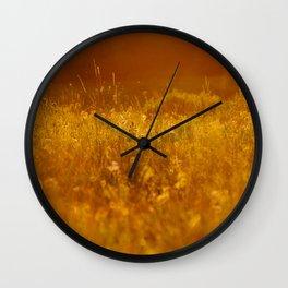 flower field at sunset Wall Clock