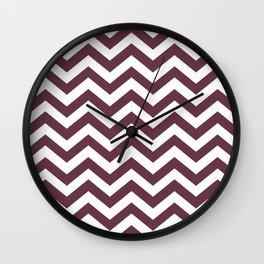 Chevron Zig Zag Pattern: Burgundy Red Wall Clock