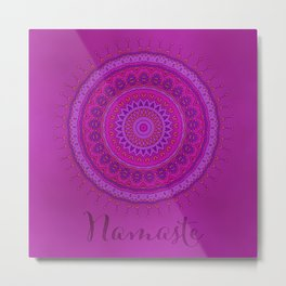 Namaste Mandala Yoga Hindi Symbol Metal Print