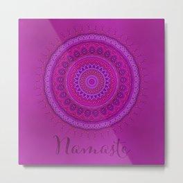 Namaste Mandala Yoga Hindi Symbol Metal Print