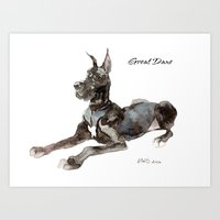 great dane Art Prints featuring Great Dane by Martynas Juchnevicius