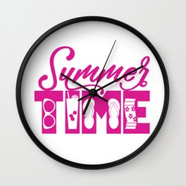 Summer TIME at the Pool Pink Wall Clock