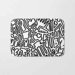 black & white doodle Bath Mat
