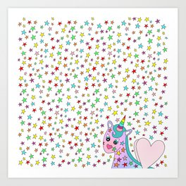 Rainbow the Unicorn Starstruck Art Print