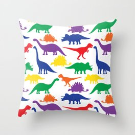 Dinosaurs - White Throw Pillow