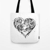 ferret Tote Bags featuring Ferret Love by Mel Hampson