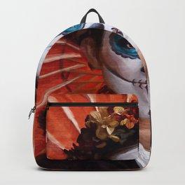Lady of The Dead - Orange Parasol - Dia De Los Muertos Backpack