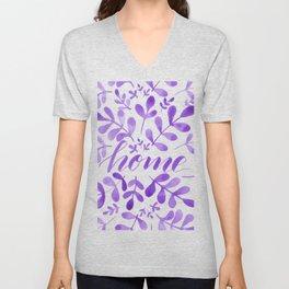Watercolor home foliage - purple Unisex V-Neck