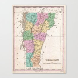 Vintage Map of Vermont (1827) Canvas Print