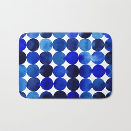Blue Circles in Watercolor Bath Mat