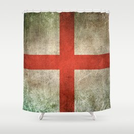 Old and Worn Distressed Vintage Flag of England Shower Curtain