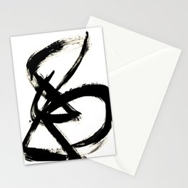 Brushstroke 3 - a simple black and white ink design Stationery Cards