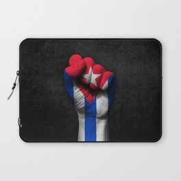 Cuban Flag on a Raised Clenched Fist Laptop Sleeve