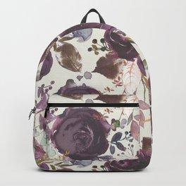 Pastel burgundy violet pink watercolor roses floral Backpack