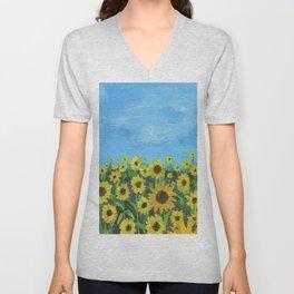 Sunflower Field Unisex V-Neck