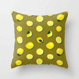 60s Lemon Pattern on Olive Throw Pillow