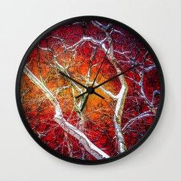 Red winter night Wall Clock