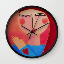 Heart on Her Sleeve Abstract Digital Painting  Wall Clock