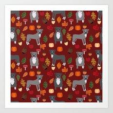Pitbull fall autumn leaves acorn pinecones dog breed pet gifts pitbulls pet art Art Print