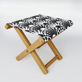 black and white art deco inspired fan pattern Folding Stool