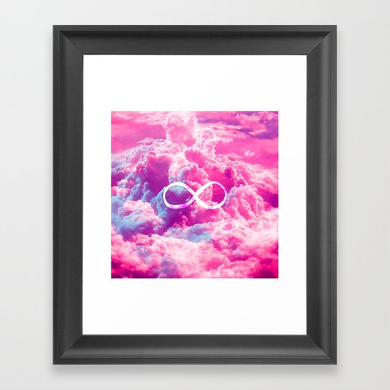 Girly Infinity Symbol Bright Pink Clouds Sky Framed Art Print