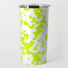 Spots - White and Fluorescent Yellow Travel Mug