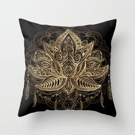 Lotus Black & Gold Throw Pillow