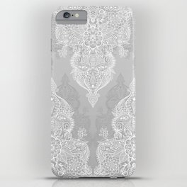 Lace & Shadows 2 - Monochrome Moroccan doodle iPhone Case