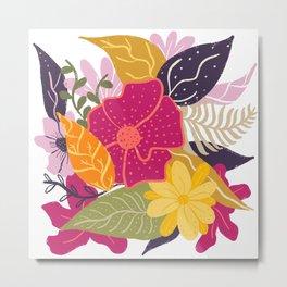 Modern big floral composition illustration pink yellow purple greens flowers Metal Print