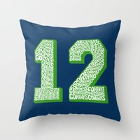seahawks Throw Pillows featuring Go Hawks 12_1 by Nuart Media Group