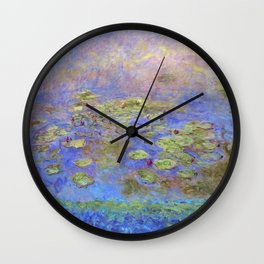 Water Lillies - Claude Monet (indigo blue) Wall Clock