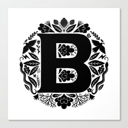 Letter B monogram wildwood Canvas Print