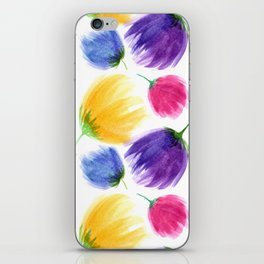 Colorful tulips. Watercolor flowers iPhone Skin