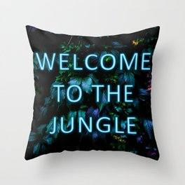 Welcome to the Jungle - Neon Typography Throw Pillow