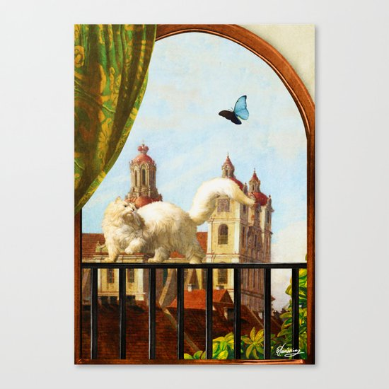 The Butterfly and the Cat Canvas Print