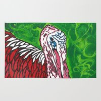 turkey Area & Throw Rugs featuring Angry Turkey by Sian Blackman
