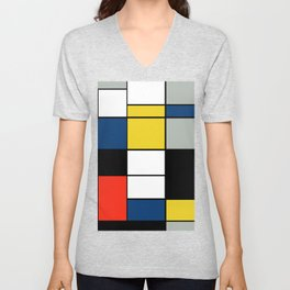 Piet Mondrian - Large Composition A with Black, Red, Gray, Yellow and Blue, 1930 Artwork Unisex V-Neck
